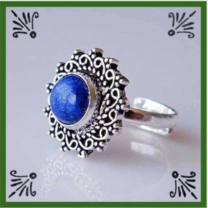 Natural Lapis Lazuli Silver Plated Ring